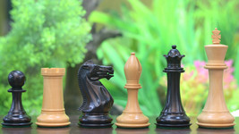 "Staunton Series Weighted Wooden Chess Pieces in Ebony & Box Wood-4.0"" King D0125 - $265.99"