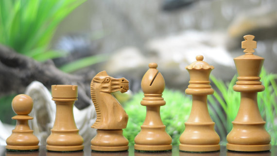 Handcarved Weighted Chess Set in Shesham Wood 4 Queens - SKU: M0013