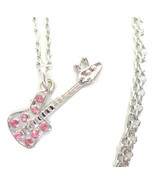 Rocker Girl Guitar Charm Necklace with Pink Rhinestones - $22.00
