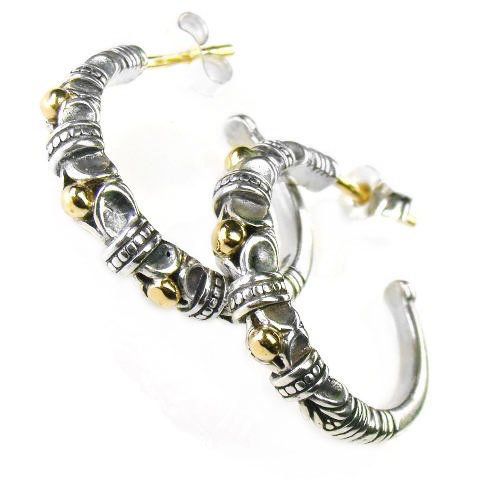Primary image for Gerochristo 1013 - Solid Gold & Silver Medieval Byzantine Open Hoop Earrings