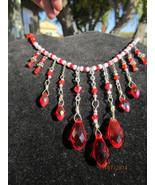 Beautiful bright red Swarovski crystal Burlesque style choker - $58.00