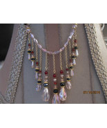 Swarovski crystal choker in Baby pink and Red accents - $66.00