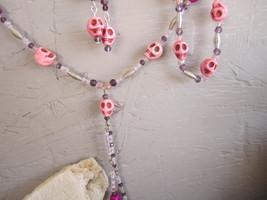 Pink  Howlite skull necklace set  - $27.00