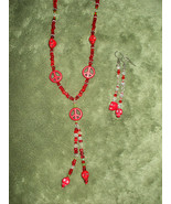 Red howlite skull necklace & earring set  Skulls with a bling!  - $40.00