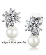10MM WHITE PEARL SILVER TONE CUBIC ZIRCONIA BRIDAL PROM EARRINGS - $13.94
