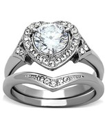 2 Ct Clear Round CZ Stainless Halo Heart Wedding Ring Set, Size 5,6,7,8,... - $32.49