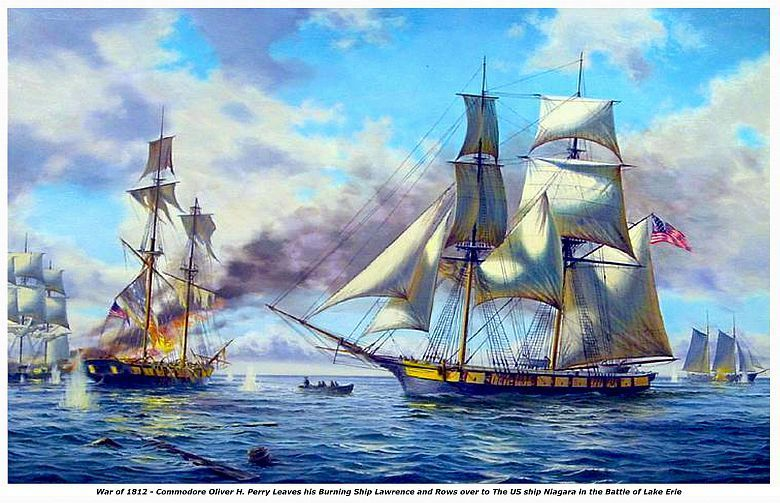 """WAR of 1812, ""BATTLE of LAKE ERIE""  13 x 10 in Fine Art  GICLEE CANVAS PRINT"