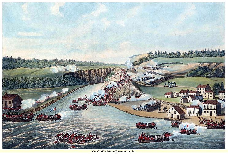 "WAR of 1812, ""Battle of Queenston Heights"", 13 x 10 inch GICLEE CANVAS PRINT"