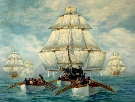 WAR of 1812, British Chasing USS Constitution, 13 x 10 inch GICLEE CANVAS PRINT