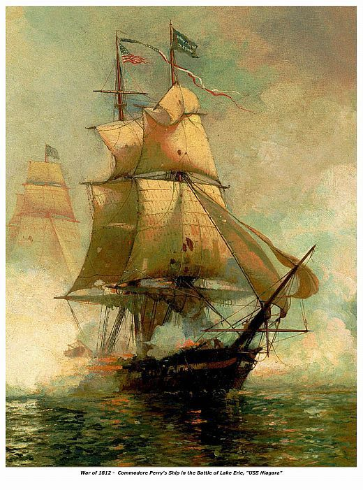 WAR of 1812, Com. Perrys Ship USS Niagara, 13 x 10 inches GICLEE CANVAS PRINT