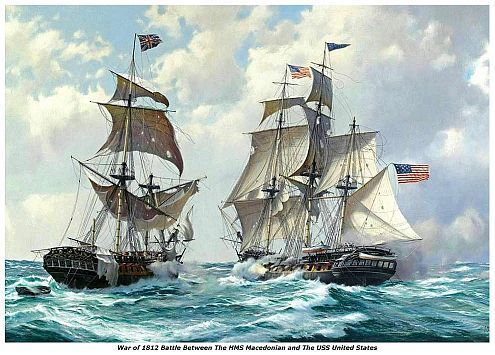 WAR of 1812, HMS Macedonian vs USS United States 13 x 10, GICLEE CANVAS PRINT