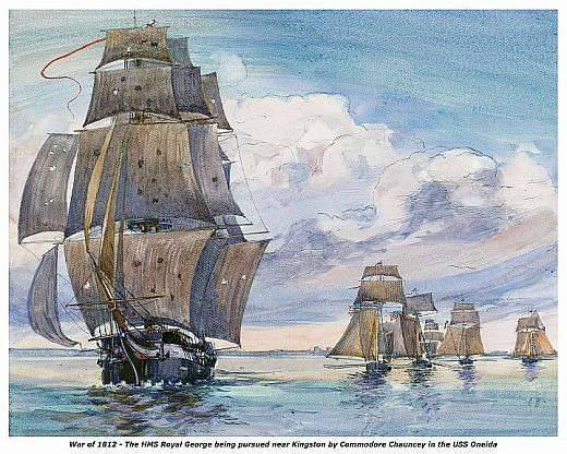 """WAR of 1812, HMS Royal George Pursued 13 x 10 in Fine Art  GICLEE CANVAS PRINT"
