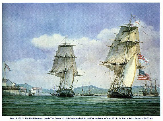 WAR of 1812, HMS Shannon Defeats USS Chesapeake 13 x 10 in GICLEE CANVAS PRINT