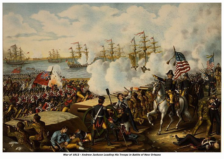 WAR of 1812, JACKSON at BATTLE OF NEW ORLEANS, 13  x 10 in GICLEE CANVAS PRINT