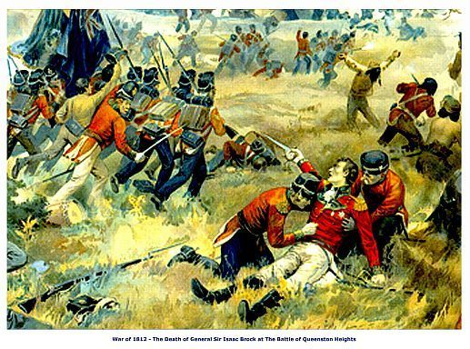 "WAR of 1812, Queenston Heights ""Death of Brock"" 13  x 10 in GICLEE CANVAS PRINT"