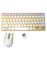 5mm thin 2.4G Wireless Keyboard with optical Mouse Golden Color - $29.39