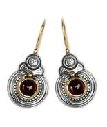Gerochristo 1055 - Solid Gold, Silver & Garnet Medieval Byzantine Earri... - $660.00