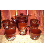 Vintage Japanese Stoneware Tea Pot With 4 Tea Cups & 3 Coffee Cups Birds Flowers - $58.95