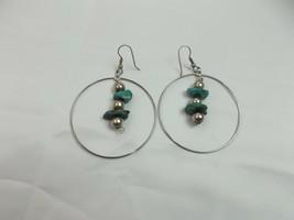 VINTAGE SILVER TONE turquoise STONE PIERCED Drop/Dangle Earrings (O) - $11.85