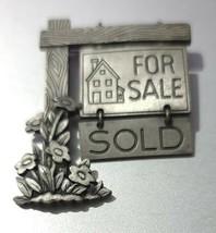 Vintage JJ Pewter Brooch Realtor For Sale Sold Sign - $16.69