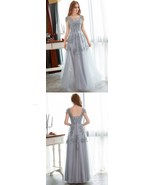 Gray Lace V-Neck Tulle Prom Party Dress A Line Formal Evening Gowns Plus... - $130.55