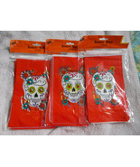 18 Skull Halloween Treat Bags  Bright Red Floral - $7.91
