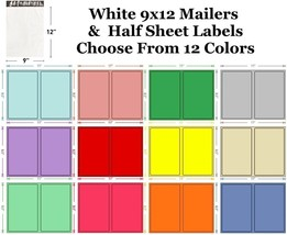 9x12 ( White ) Poly Mailers + Colored Half Sheet Self Adhesive Shipping ... - $2.99+