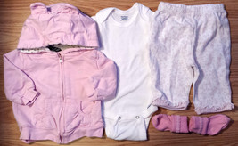 Girl's Size 0-3 M Months 4 Piece Pink Hooded Jacket, Floral Pants, Top & Socks - $13.50