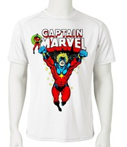 Captain Marvel Dri Fit graphic Tshirt superhero comic SPF sun shirt active tee image 2