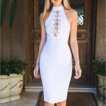 White Halter Lace Up Front Women Bodycon Dress - $32.18