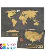 WORLD AND USA SCRATCH MAP SET TRAVEL TRACKER JOURNAL WALL POSTER BLACK NEW - $34.63