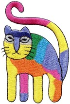 Rainbow cat kitten kitty embroidered applique iron-on patch S-1486 - $2.95