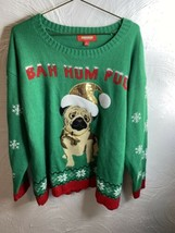 "Womens Snowman Green ""Bah Hum Pug"" Holiday Tradition Christmas Sweater P... - $12.19"