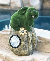 Solar Powered Rabbit On Garden Rock Sculpture In Flocked Artificial Gras... - $36.62