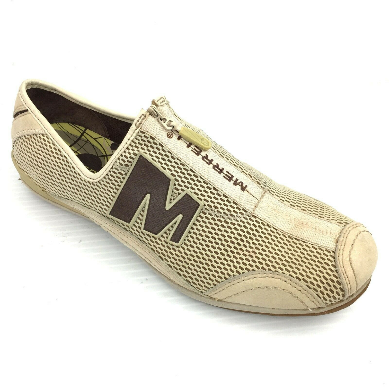 "MERRELL ""Arabesque"" Taupe Mesh & Leather Athletic Casual Comfort Zip Shoes 7.5"