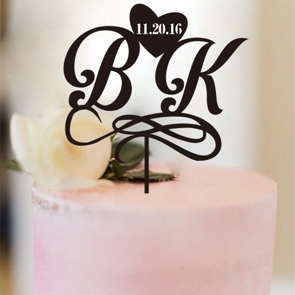 Buythrow® Personalized Wedding Cake Topper Bride And Groom Initials Monogram