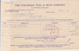 U.S. The Colorado Fuel & Iron Company 1907 Denver Colo. Paid Invoice Ref... - $7.59