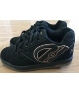 Heelys Reflex Roller Skate Shoes Boys/Youth Sz 4 Black/Tan Excellent Exe... - $4.37