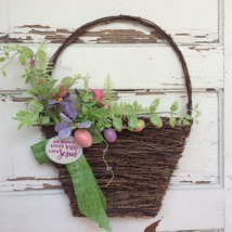 AGD Spring Easter Decor – No Bunny Loves Like Jesus Grapevine Basket Wreath - $29.65