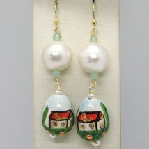 Earrings yellow gold 750 18k fw pearls and hand painted drop has in Italy - $362.74