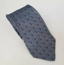 "Bill Blass Neo Mens Necktie Gray 100% Silk 59""x4"" Yellow Black FREE SHIP... - $11.17"