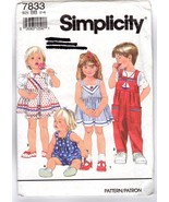Simplicity 7833 Toddlers' Child's Dress & Jumpsuit & Bloomers Pattern 2-... - $8.47