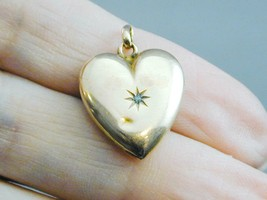 Antique 10k Gold Puffy Heart Pendant With Old Mine Cut Diamond - $124.99
