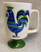 Vintage 1970s Ceramic Enesco Blue Green Rooster Footed Mug Cup Retro - $16.83