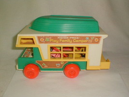 Fisher Price 1972 Play Family Camper  No 994 Camper Boat Motorcycle Acce... - $75.00