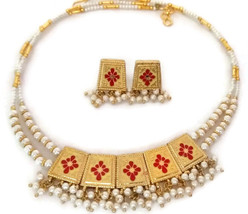 Indian Bridal Necklace Gold Plated Reversible Red Maroon White Pearl Jewelry 2S - $17.75
