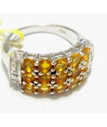 ORANGE FIRE OPAL ROUND & DIAMOND BAND RING, PLATINUM / SILVER, SIZE 5, 1... - $79.99