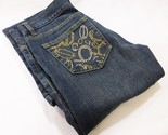 BEBE  jeans women blue 26 mid rise flared rhinestone detail USA wide leg cotton