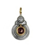 Gerochristo 1055 - Solid Gold, Silver & Garnet Medieval Byzantine Pendant  - $330.00