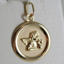 SOLID 18K YELLOW GOLD MEDAL PENDANT, GUARDIAN ANGEL LENGTH 1,06 IN MADE IN ITALY image 1